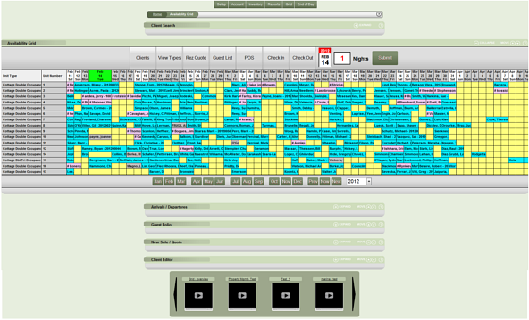 color coded grid interface